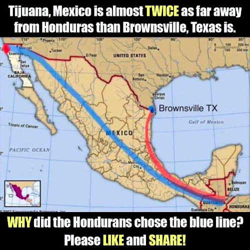 tijuana mexico twice as far from honduras as brownsville texas immigrant caravan