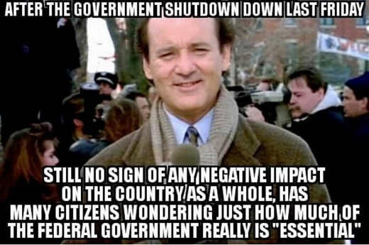 after government shutdown still no negative impact on country as whole many wondering if federal government necessary