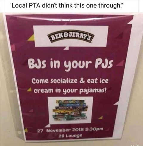 ben and jerrys pta flyer bjs in your pjs didnt think through