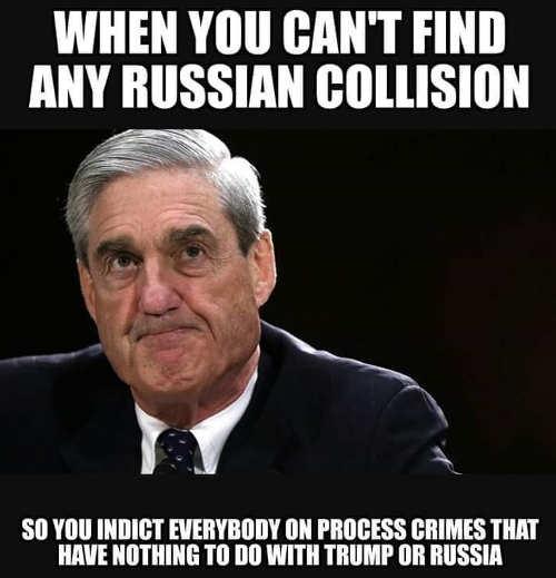 bob mueller havent found russian collusion so charging process crimes