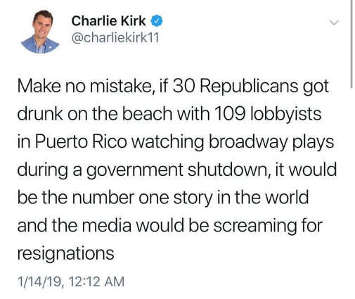 charlie kirk make no mistake if republicans partying during shutdown would have been top story all week