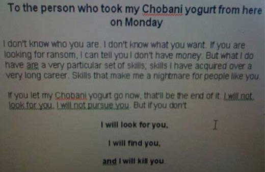 chobani yogurt theft taken note