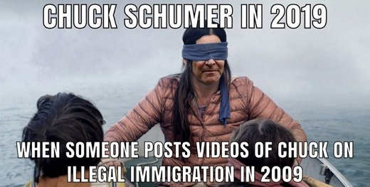 chuck schumer birdbox when some posts immigration videos 2009 blind fold