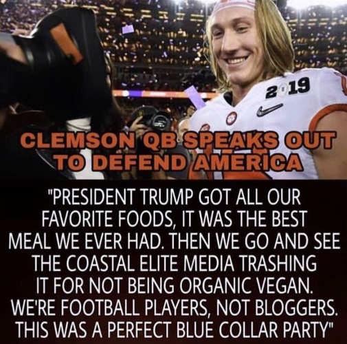 clemson qb speaks trump got our favorite fooods