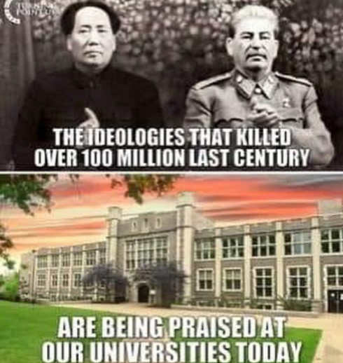 communist ideologies that killed 100 million being taught and praised in universities mao stalin