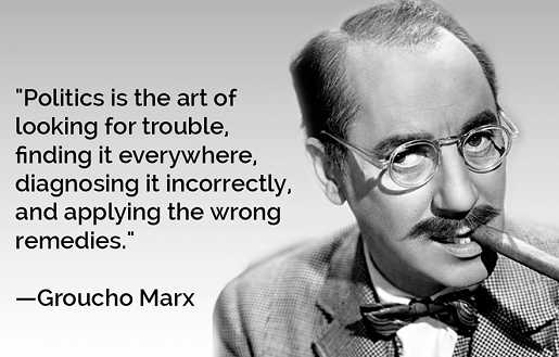 groucho marx politics is looking for trouble diagnosing it incorrectly applying wrong remedies