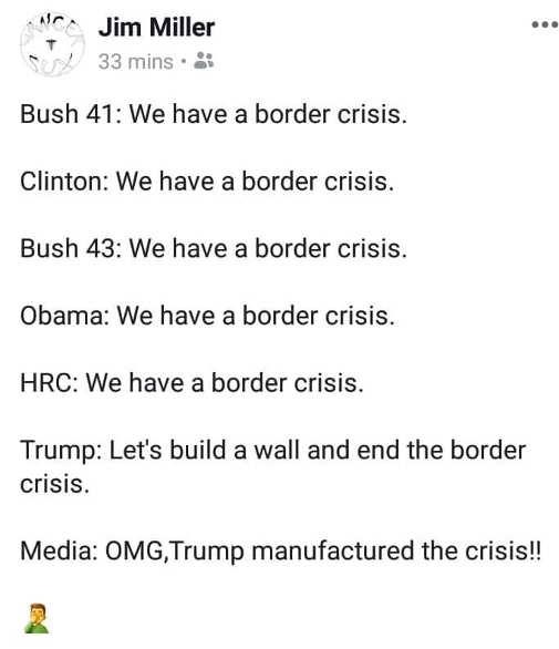 jim miller bush clinton hillary we have border crisis trump manufactured news