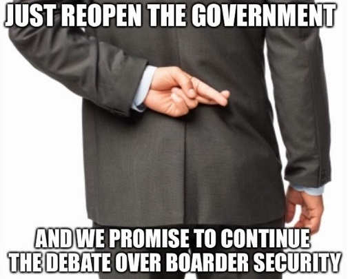 just open the government and we promise to continue the debate over border security