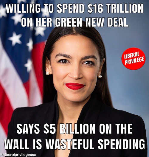 ocasio cortez willing to spend trillions on green new deal wont spend 5 billion on wall