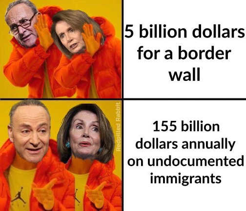 schumer pelosi 5 billion for border wall no 155 annuallly on illegal immigrants yes