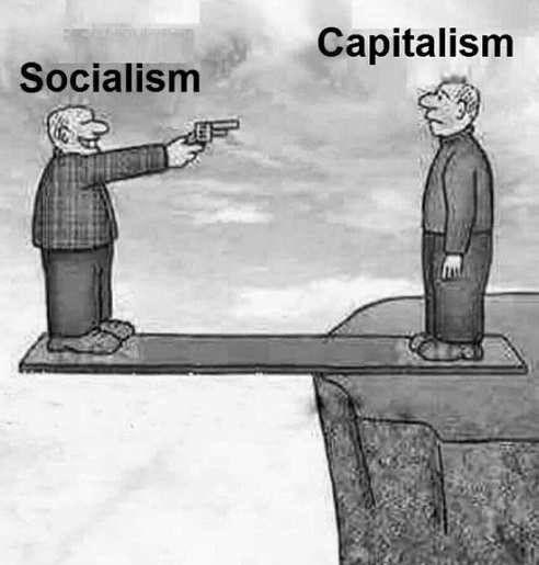 socialism shooting capitalism held on board by cliff