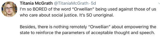 titania mcgrath bored with orwellian nothing wrong with government control over speech