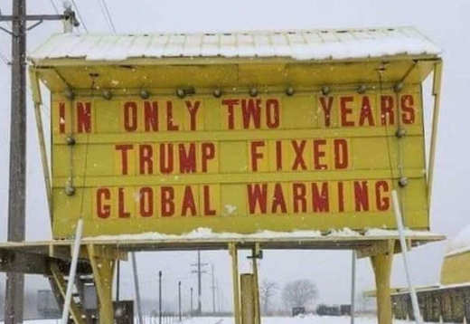 trump fixed global warming in only two years