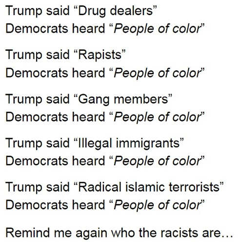 trump says drug dealers rapists gang members illegal immigrants radical islamists democrats hear people of color who is racist