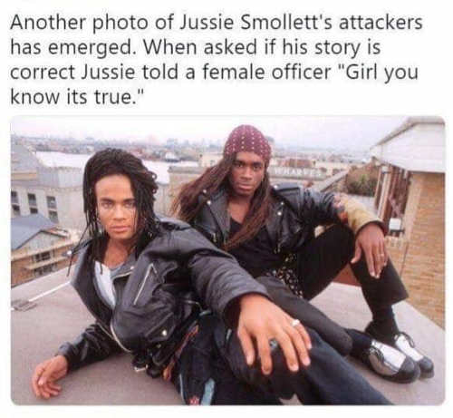 another photo of jussie smollett attackers milli vanilli girl you know its true