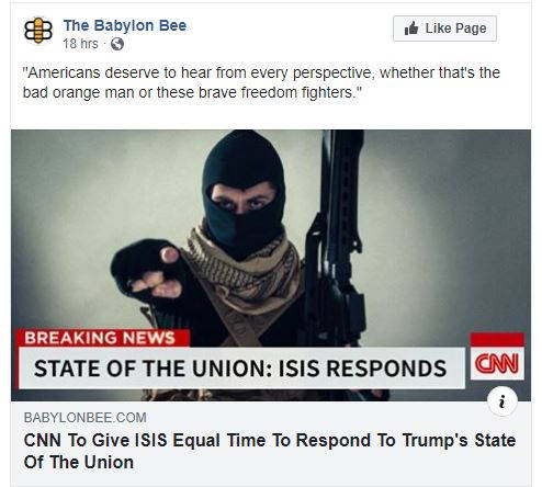 babylon bee cnn to give equal time to isis to respond to state of union