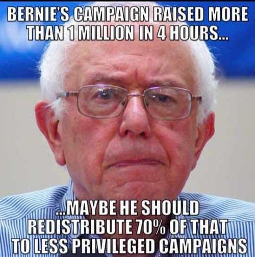 bernie sanders campaign raised 1 million dollars 4 hours should redistribute 70 percent less privileged campaigns