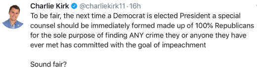 charlie kirk tweet next democrat president should face unlimited investigation plus all associates