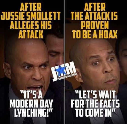 cory booker before after jussie smollett hoax lynching wait for facts