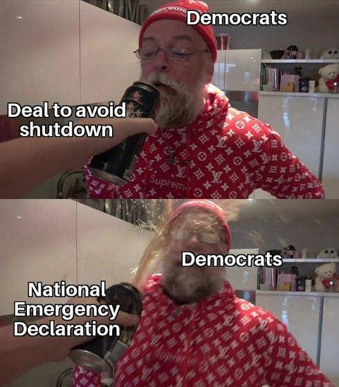 democrats deal to avoid shutdown national emergency soda shake