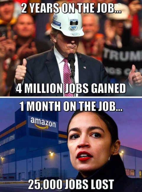 donald trump 4 million jobs gained ocasio cortez 25000 jobs lost