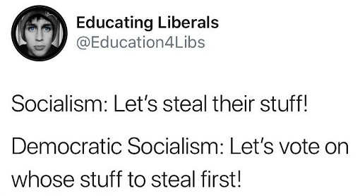 educating liberals socialism lets steal their stuff democratic vote to steal