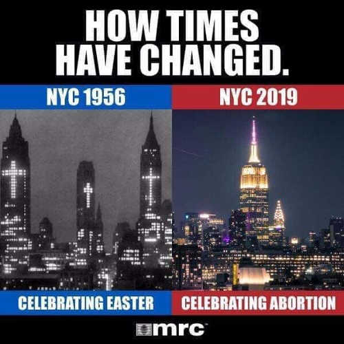 how times have changed in new york celebrating easter crosses celebrating abortion pink lights
