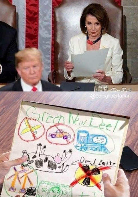 nancy pelosi drawing green new deal during trump state of union