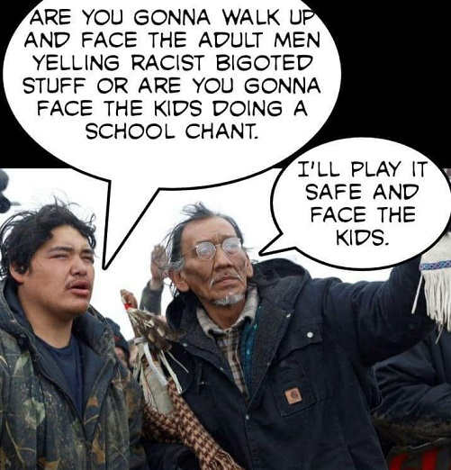 nathan phillips are you gonna face the adult men yelling bigoted stuff or face the kids play it safe against kids