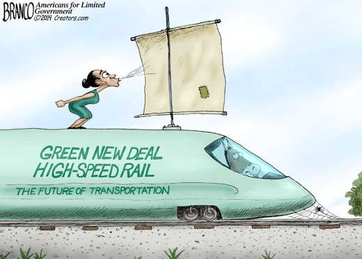 ocasio cortez blowing green new deal high speed rail future of transportation
