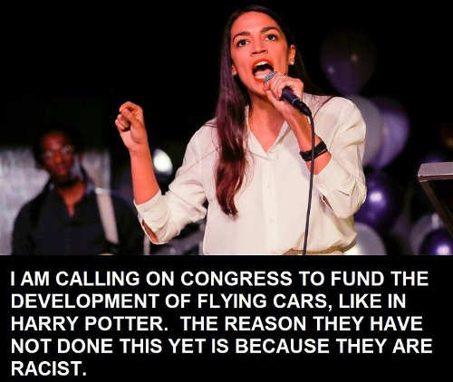 ocasio cortez calling on congress to fund development flying cars reason havent theyre racists