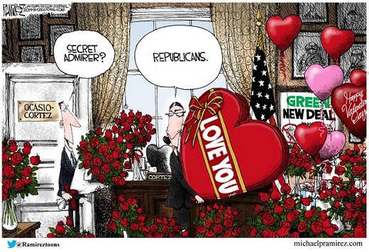 ocasio cortez green new deal republicans sending valentines flowers