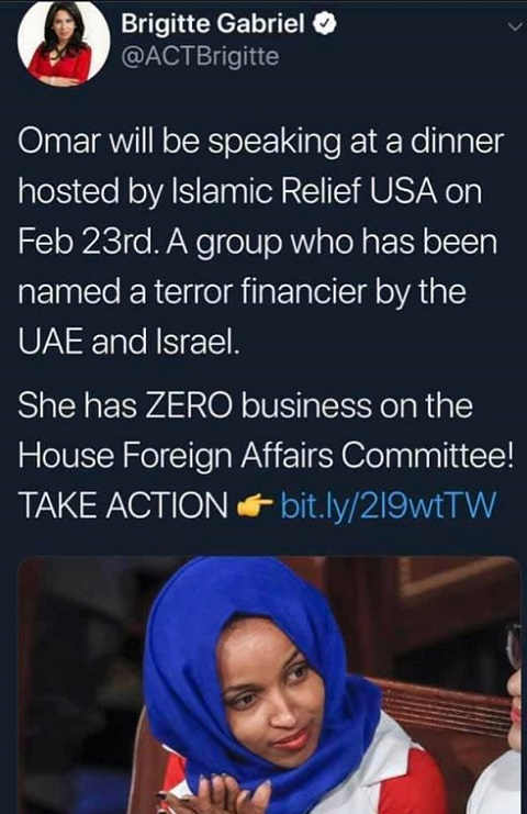 omar speaking at islamic relief usa terrorist financier zero business on house foreign affairs committee
