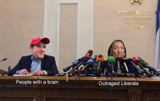 people with a brain maga hat boy outraged liberals all microphones