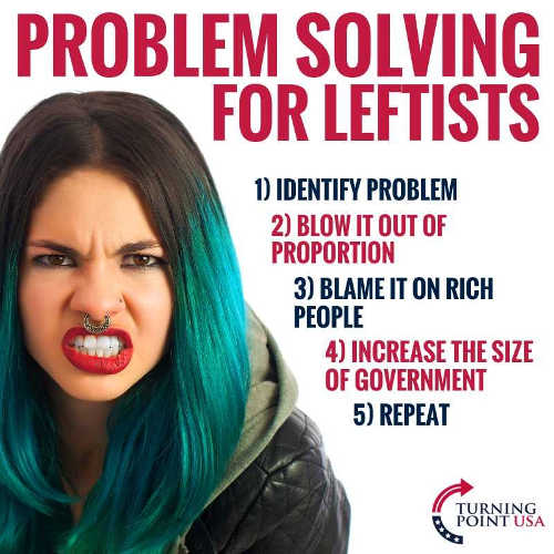problem solving for leftists identify problem blow out of proportion blame on rich increase size of government repeat
