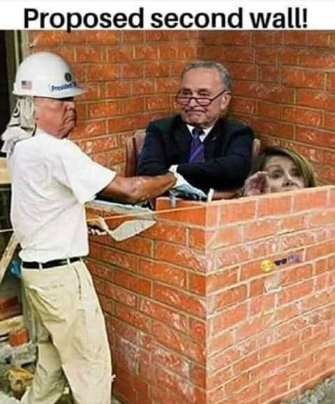proposed second wall trump schumer pelosi bricked in