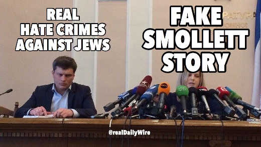 real hate crimes against jews no attention fake jussie smollett story all microphones