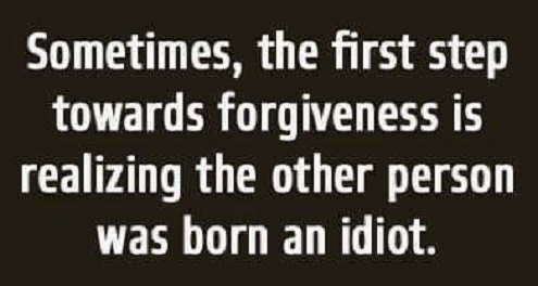 sometimes first step towards forgiveness is realizing other person was born an idiot