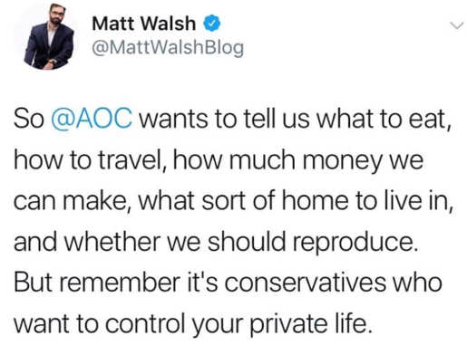 walsh tweet aoc wants to tell us eat travel money kids but conservatives control private life