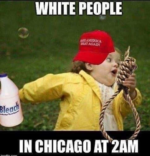 white people in chicago at 2am maga hat girl