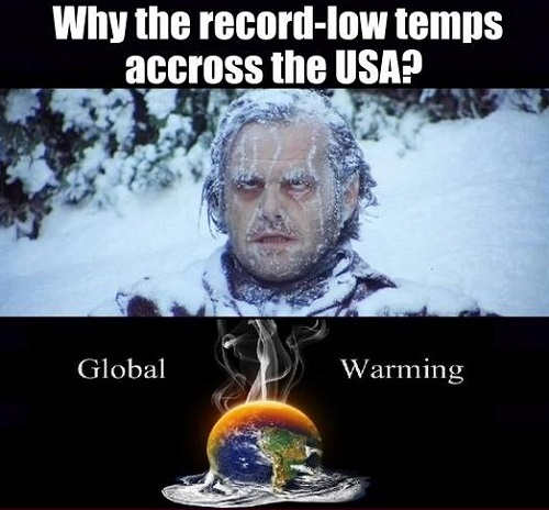 why record low temps across us global warming climate change of course