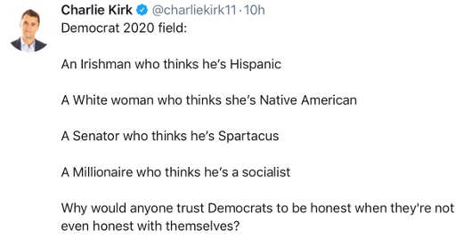 charlie kirk tweet democratic candidates pretending to be what theyre not