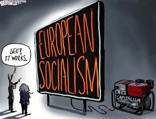 european socialism sign see it words fueled by capitalism engine