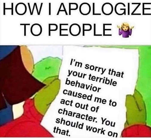 how i apologize to people im sorry your behavior made me act out of character