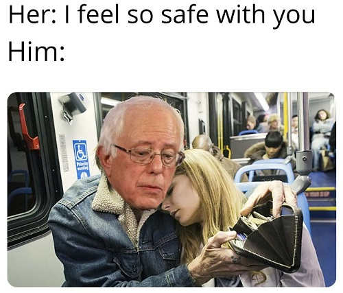 i feel so safe with you bernie sanders emptying wallet