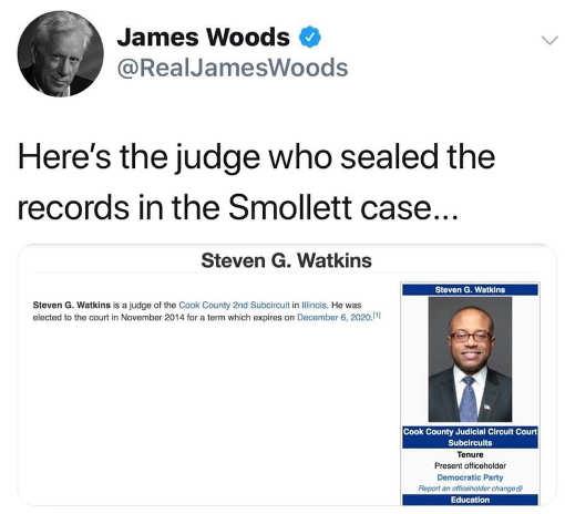 james wood tweet judge who sealed jussie smollett case