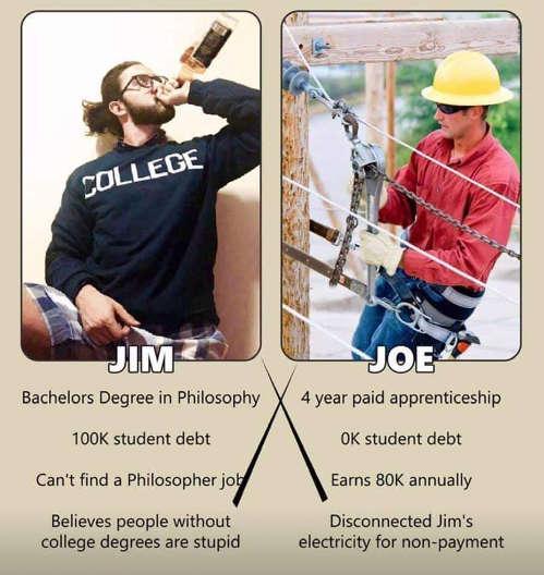 jim philosophy degree debt cant get job joe apprenticeship job no debt
