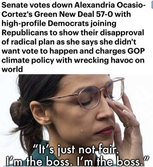 ocasio cortez green new deal voted down unanimously