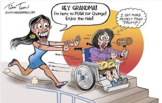 ocasio cortez pushing grandma pelosi down the stairs