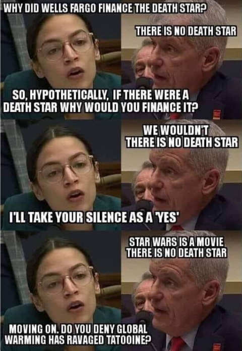 ocasio cortez why did you finance death star congressional hearing